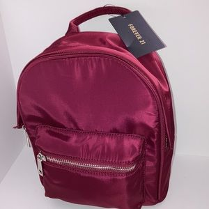 Forver 21 Burgundy Mini Waterproof Backpack NWT